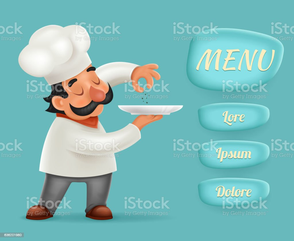 Menu Buttons Interface Chef Cook Serving Food 3d Realistic Cartoon vector art illustration