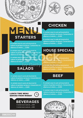 Menu Cafe Restaurant Template Placemat Stock Vector Art & More Images of Barbecue 596355244