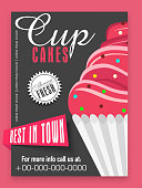 Menu card design for cup cakes.