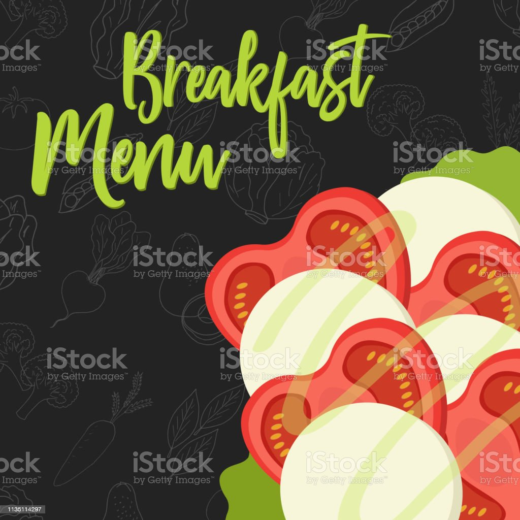Menu concept for restaurant and cafe. Breakfast menu template. Flat style sandwich. Vector Illustration with hand drawn fruits and vegetables. Vector Illustration vector art illustration