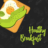 Menu concept for restaurant and cafe. Breakfast menu template. Healthy breakfast menu template.  Flat style sandwich. Vector Illustration with hand drawn fruits and vegetables.  Vector Illustration