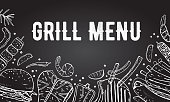 Menu cover design template. Grill and barbecue food. Outline vector hand drawn sketch illustration white on blackboard background