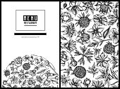 Menu cover floral design with black and white bellflower, edelweiss, globethistle, globeflower, meadow geranium, gentiana stock illustration