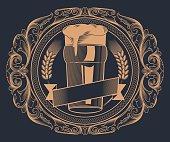 Glass of beer, decorative vector artwork