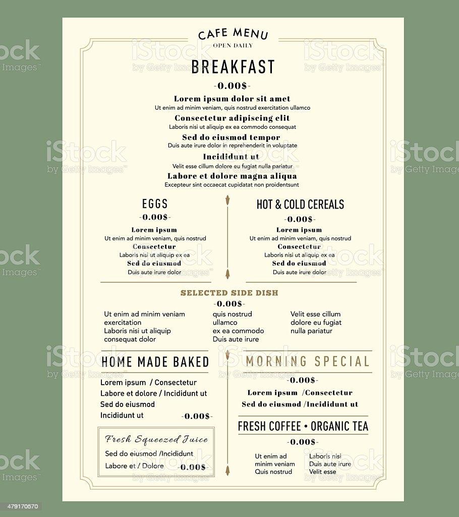 Menu Design Template layout for Breakfast Restaurant Cafe Vintage style