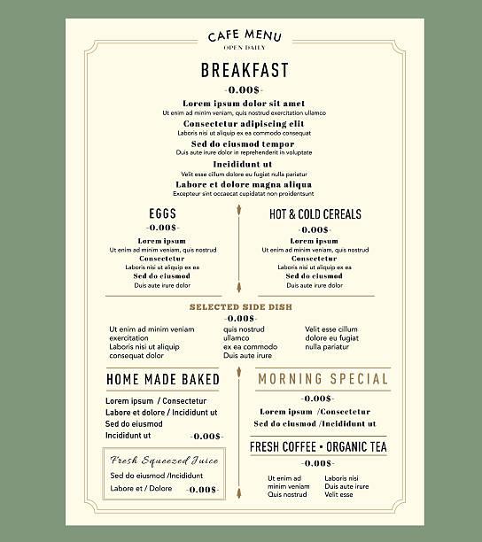 Menu Design Template layout for Breakfast Restaurant Cafe Vintage style vector art illustration