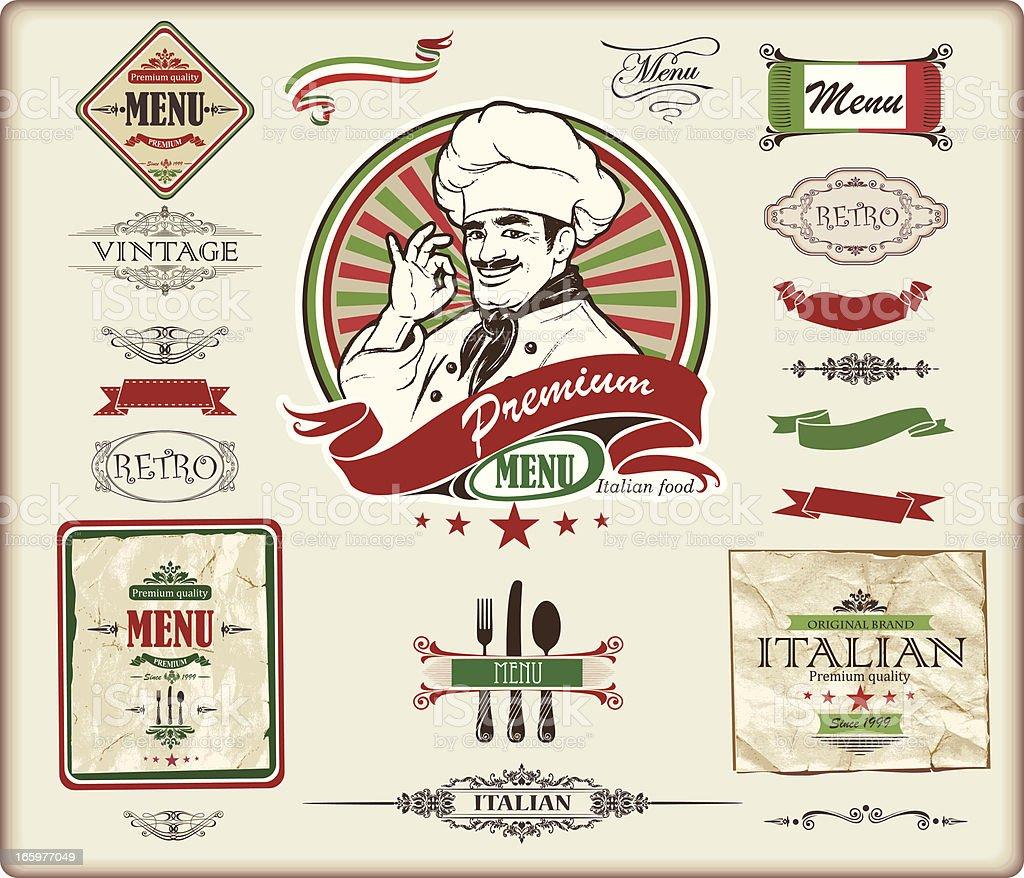 ITALIAN menu design vector art illustration