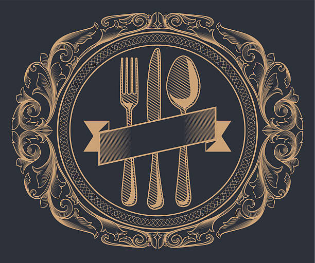 menü-design - gourmet küche stock-grafiken, -clipart, -cartoons und -symbole