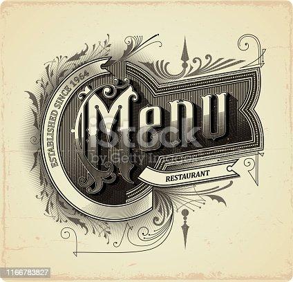 Calligraphic restaurant menu design, eps9