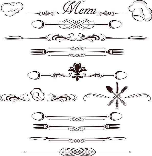 menu divider menu divider cooking borders stock illustrations