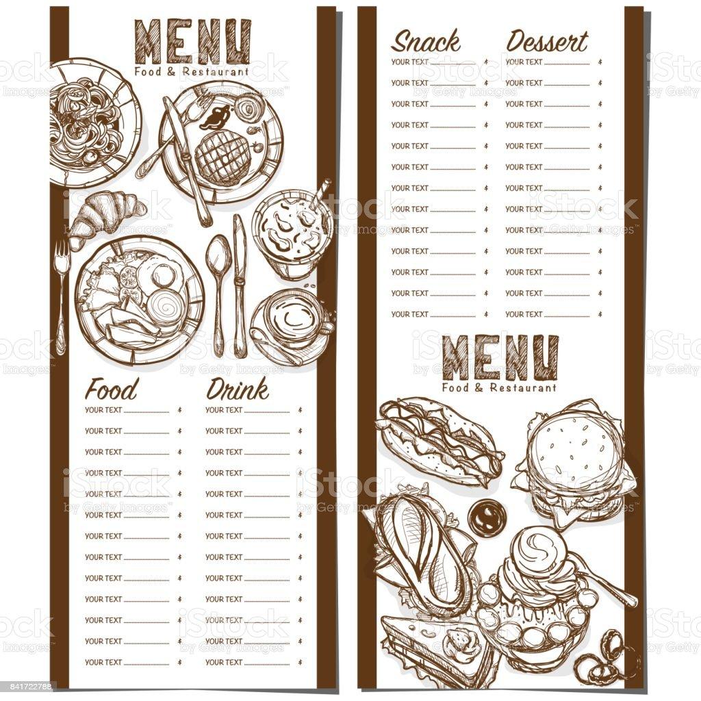Menú Comida Rápida Restaurante Plantilla Diseño Mano Dibujo ...