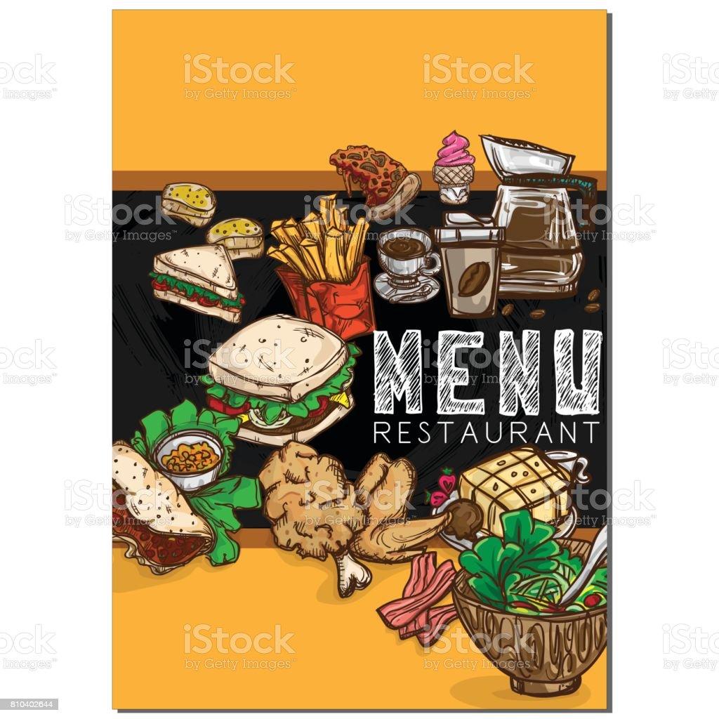 Ilustración de Menú Comida Restaurante Plantilla Diseño Mano Dibujo ...