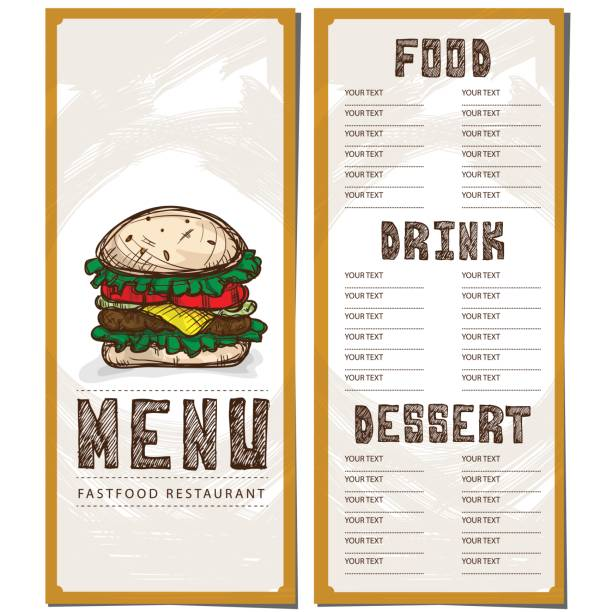 menü essen restaurant vorlage design handzeichnung grafik. - schweinebraten stock-grafiken, -clipart, -cartoons und -symbole