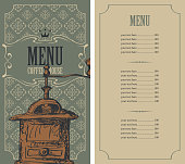 Template vector menu for coffee house with price list and an old hand drawn coffee mill in figured frame with curlicues in baroque style on ornate background with decorative pattern.