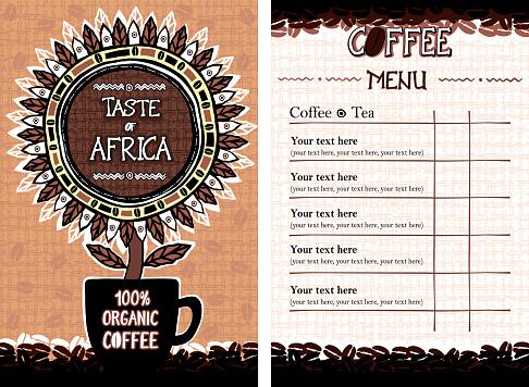 Menu for cafe, bar, coffeehouse, restaurant - Taste of Africa
