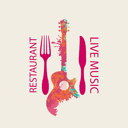 menu for music restaurant with guitar and cutlery