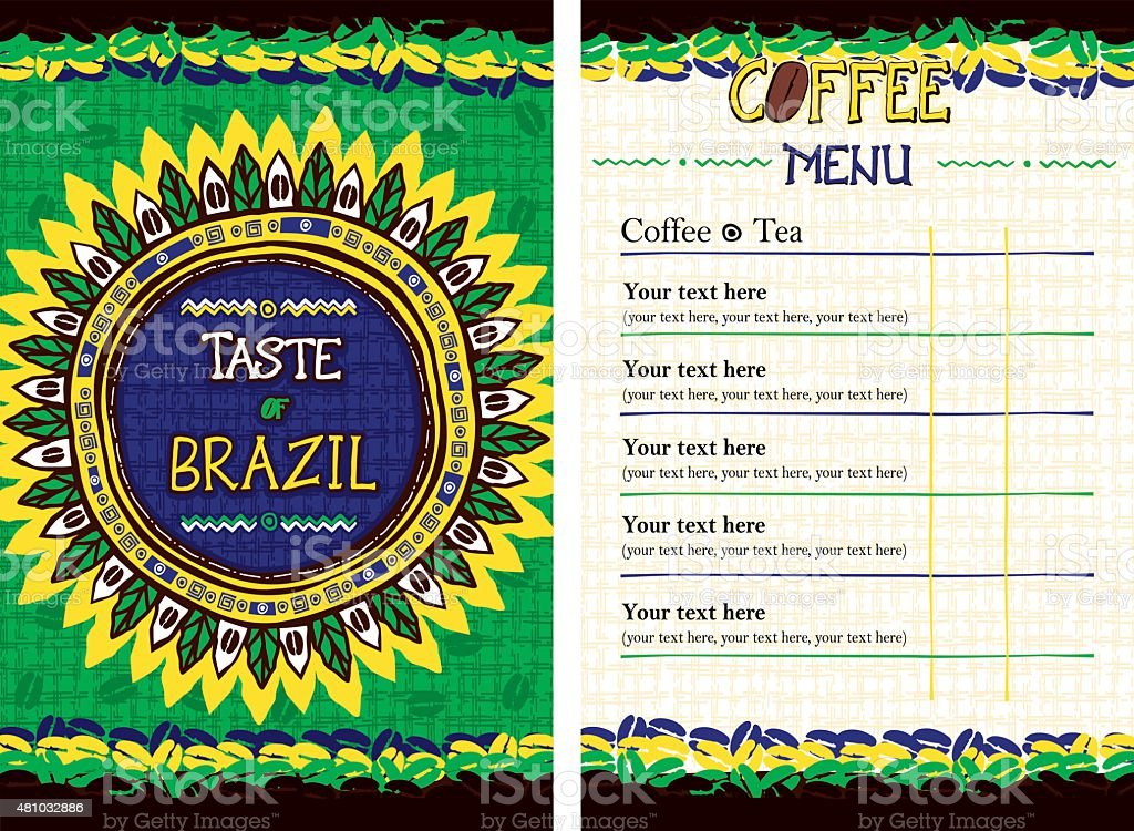 Menu for restaurant, cafe, bar, coffeehouse - Taste of Brazil vector art illustration