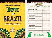 Menu for restaurant, cafe, bar, coffeehouse - Taste of Brazil - in colors of national Brazil flag. Set of Front Page and Table of Contents Page.