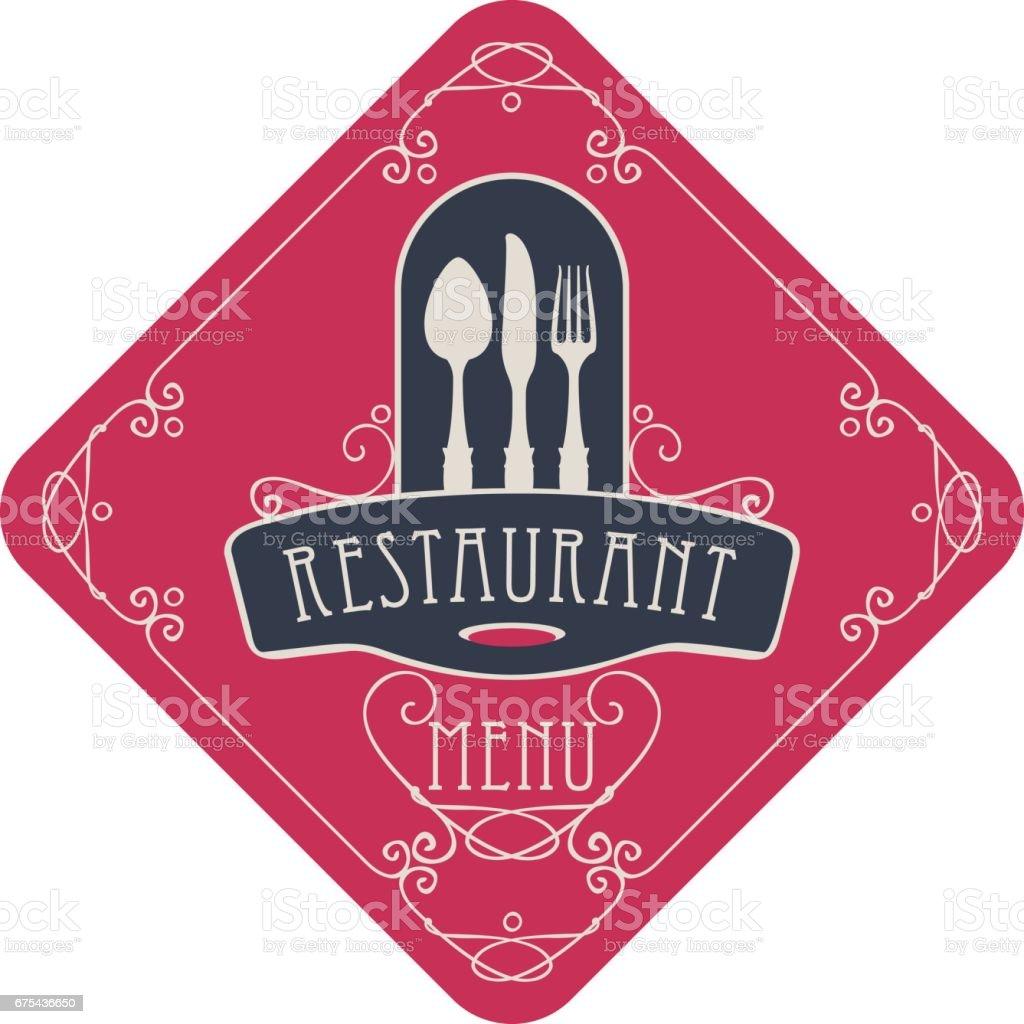 menu pour restaurant avec couverts et fioritures menu pour restaurant avec couverts et fioritures – cliparts vectoriels et plus d'images de aliment libre de droits