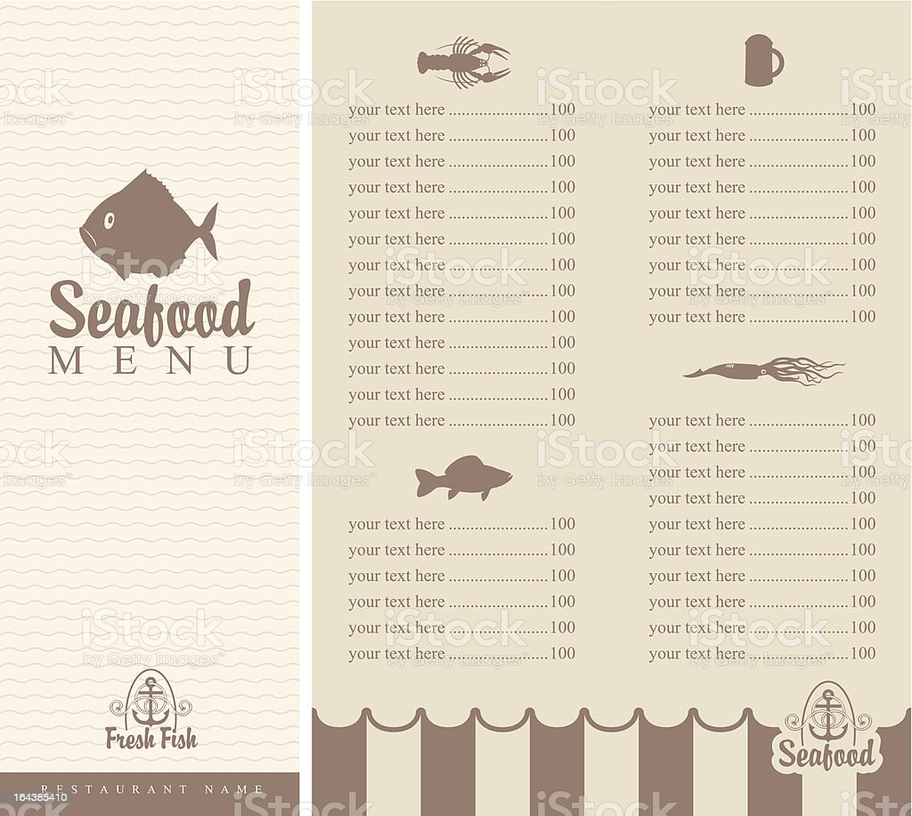 menu for seafood royalty-free stock vector art