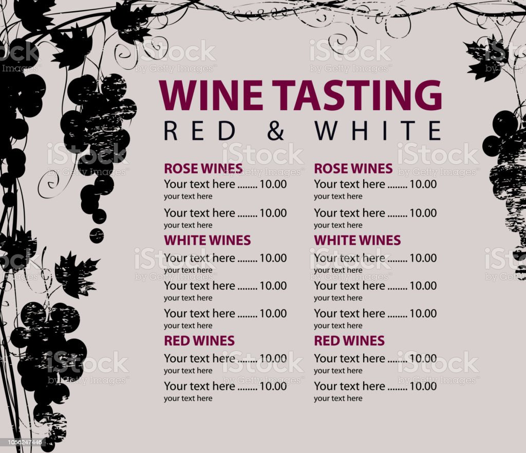 Vector menu for wine tasting with price list and grapevine with...