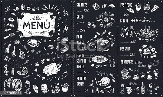 Vintage chalk drawn Menu vector design