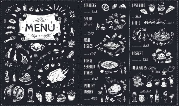 Menu hand drawn chalk design with white food icons on blackboard. Isolated vector sketch of meat dishes, barbecue, chicken, fish and seafood, fast food, beverages and sweet desserts. Vintage cafe menu Vintage chalk drawn Menu vector design seafood stock illustrations
