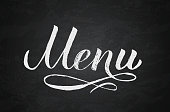 Menu hand written word on chalkboard background.. Calligraphy chalk lettering. Grunge vector illustration. Easy to edit template for café, bar, restaurant, wedding menu cards, etc.