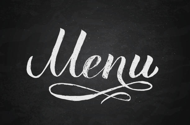 ilustrações de stock, clip art, desenhos animados e ícones de menu hand written word on chalkboard background.. calligraphy chalk lettering. grunge vector illustration. easy to edit template for café, bar, restaurant, wedding menu cards, etc. - ementa