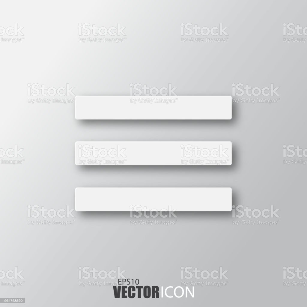 Menu icon in white style with shadow isolated on grey background. royalty-free menu icon in white style with shadow isolated on grey background stock vector art & more images of abstract