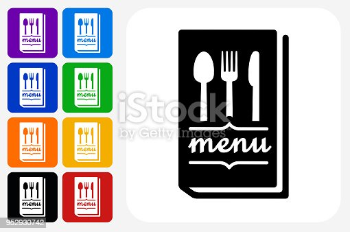 Menu Icon Square Button Set. The icon is in black on a white square with rounded corners. The are eight alternative button options on the left in purple, blue, navy, green, orange, yellow, black and red colors. The icon is in white against these vibrant backgrounds. The illustration is flat and will work well both online and in print.