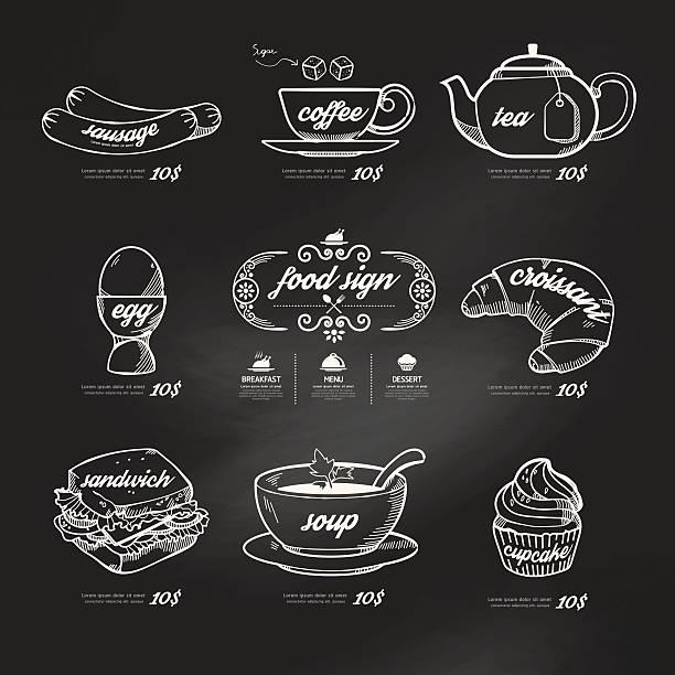 menu icons doodle drawn on chalkboard background .Vector vintage vector art illustration