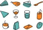 retro icons for restaurant menu