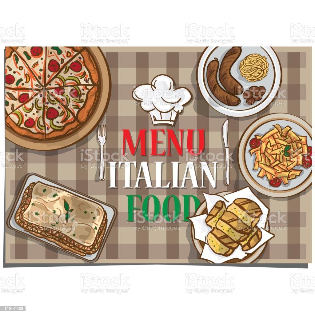 Ilustración de Menú Comida Italiana Restaurante Plantilla Diseño ...
