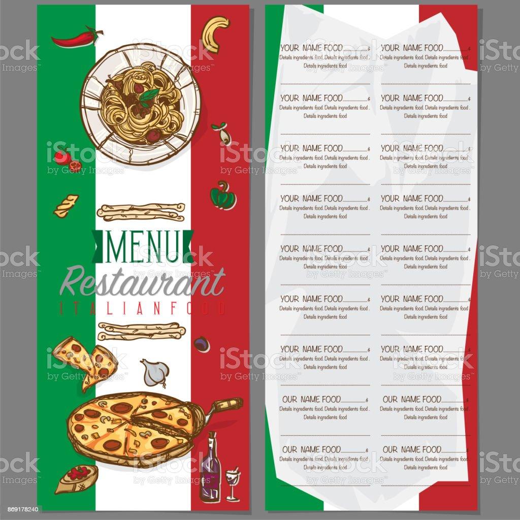 Menü Italienisches Essen Vorlage Design Handzeichnung Grafik Stock ...