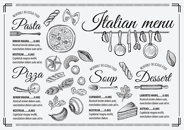 Menu italian restaurant, food template placemat. vector art illustration