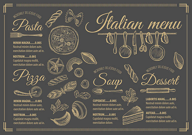 menu italian restaurant, food template placemat. - fine dining stock illustrations, clip art, cartoons, & icons