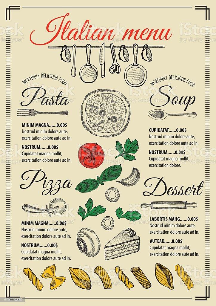 Menu Italian Restaurant Food Template Placemat stock vector art – Italian Menu