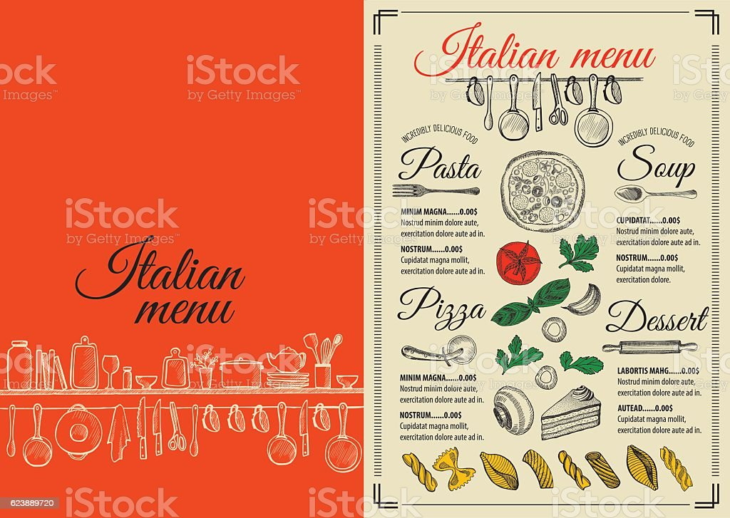 Menu Italian Restaurant Food Template Placemat Stock Vector Art