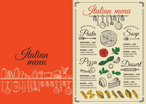 Menu italian restaurant, food template placemat.