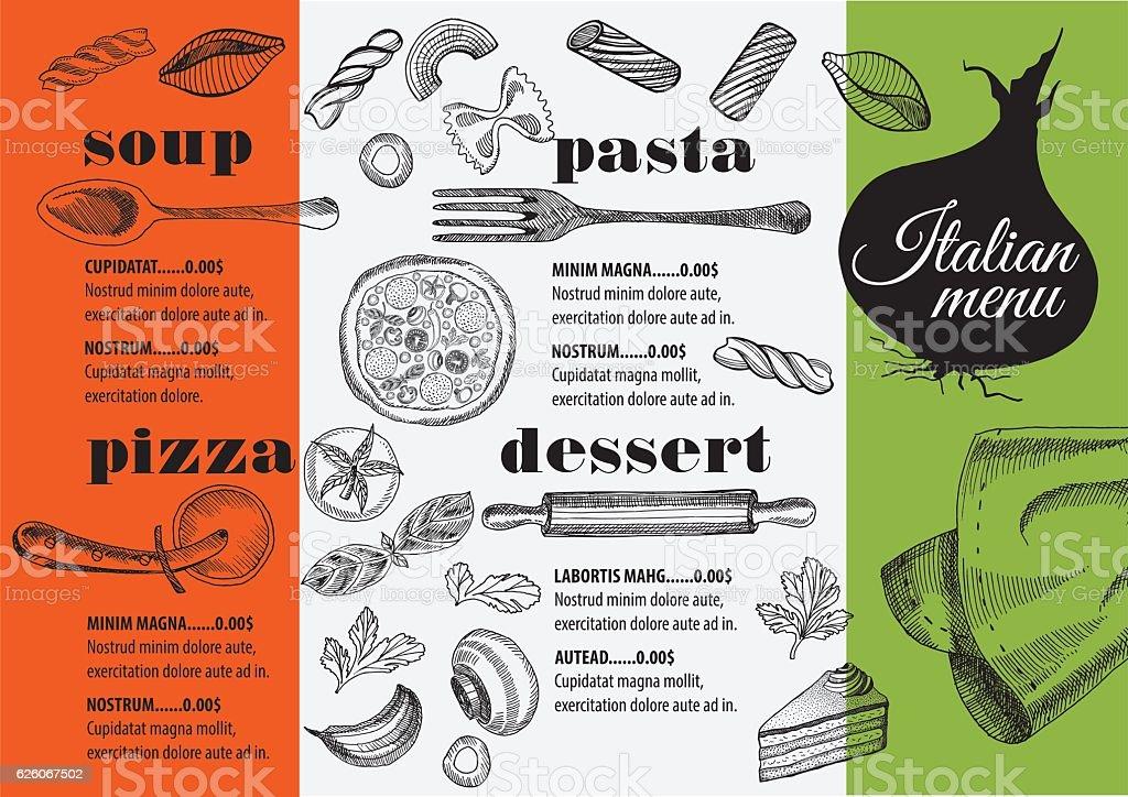 Speisekarte Italienische Restaurant Essen Vorlage Tischset Stock ...