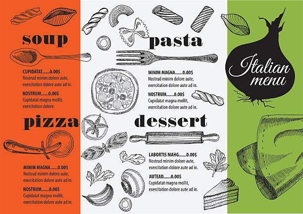 メニューでのイタリア料理レストラン、フードテンプレート placemat ます。 - ランチョンマット点のイラスト素材/クリップアート素材/マンガ素材/アイコン素材