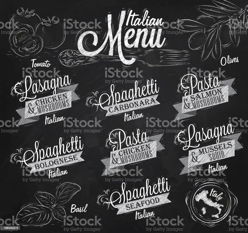 Menu Italian spaghetti chalk royalty-free menu italian spaghetti chalk stock vector art & more images of art