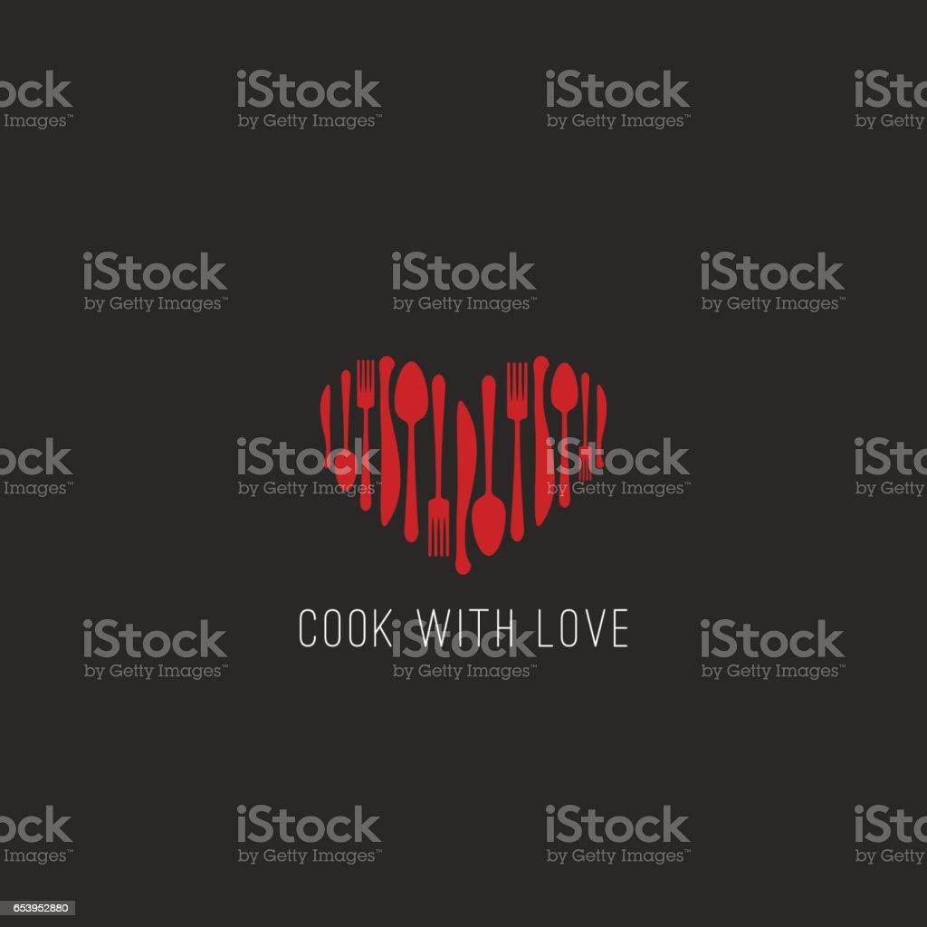 Garfo de mesa menu logotipo restaurante colher, emblema de café faca coração forma, maquete de fundo de capa de livro de receitas - ilustração de arte em vetor
