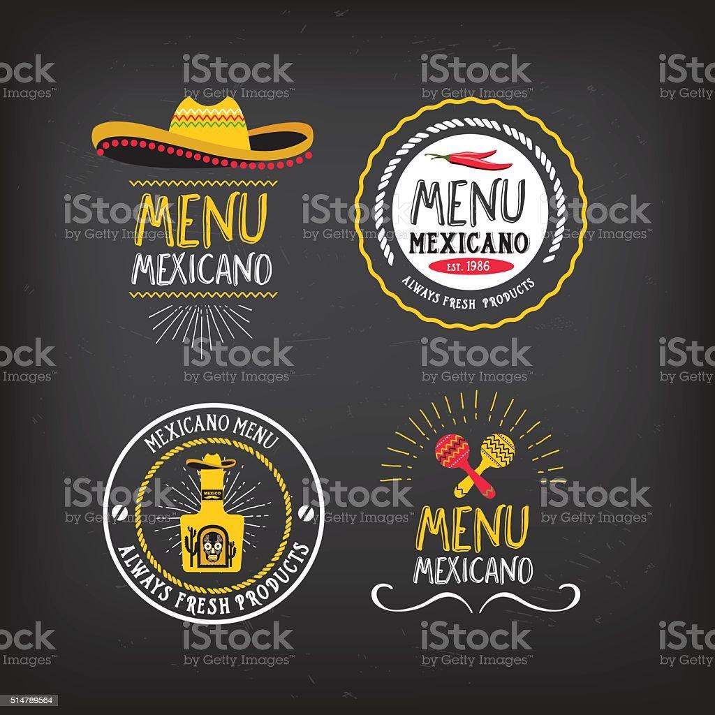 Menu mexican badge design. vector art illustration