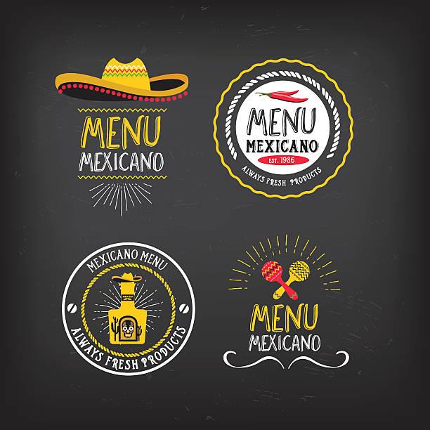 menu mexican badge design. - mexican food stock illustrations, clip art, cartoons, & icons