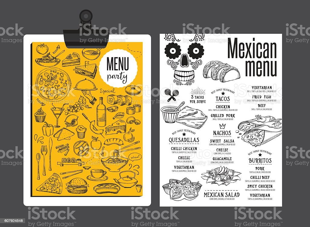 Menu mexican restaurant, template placemat. vector art illustration
