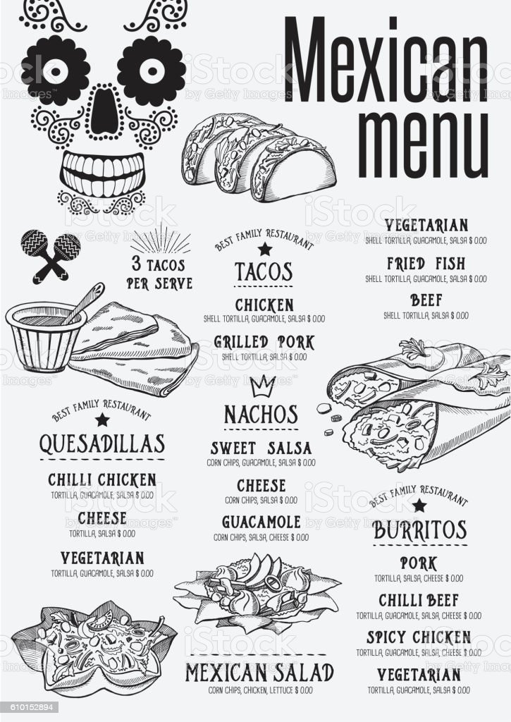 Menu Mexican Restaurant Template Placemat Stock Illustration