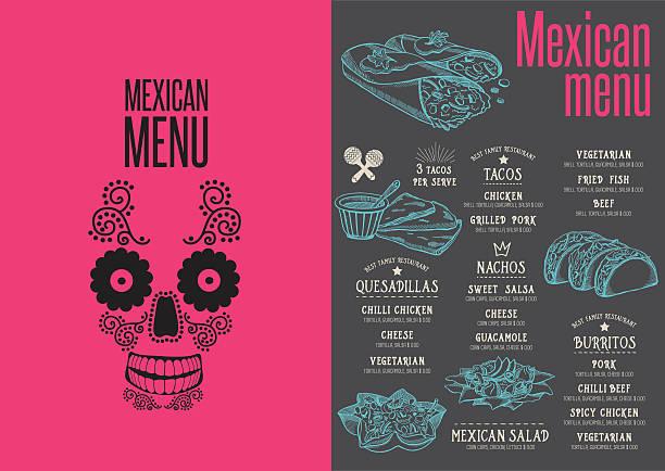 menu mexican restaurant, template placemat. - tortillas stock-grafiken, -clipart, -cartoons und -symbole