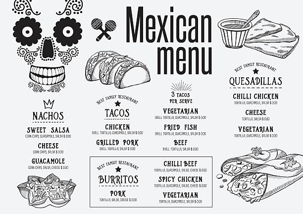 menu mexican restaurant, template placemat. - mexican food stock illustrations, clip art, cartoons, & icons